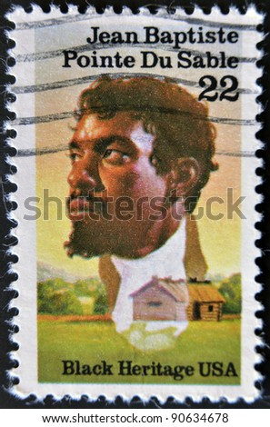 UNITED STATES OF AMERICA - CIRCA 1987: A stamp printed in USA shows Jean Baptiste Pointe Du Sable, black heritage serie, circa 1987 - stock photo