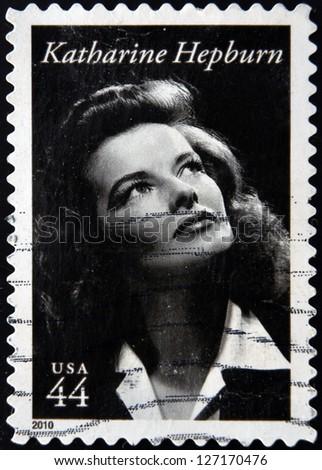 UNITED STATES OF AMERICA - CIRCA 2010: A stamp printed in USA shows Katharine Hepburn, circa 2010
