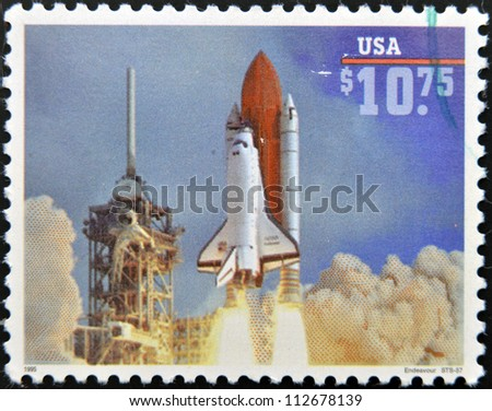 UNITED STATES OF AMERICA - CIRCA 1995: A stamp printed in USA shows launch of Space Shuttle Endeavour, circa 1995
