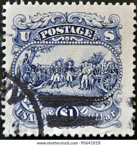 UNITED STATES OF AMERICA - CIRCA 1994: A stamp printed in USA shows Surrender of General John Burgoyne at Saratoga, circa 1994