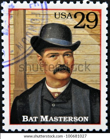 UNITED STATES OF AMERICA - CIRCA 1994 : A stamp printed in USA shows William Barclay Bat Masterson, lawman in the American Old West, circa 1994