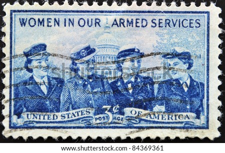 UNITED STATES OF AMERICA- CIRCA 1952: A stamp printed in USA shows Women of the Marine Corps, Army, Navy and Air Force, circa 1952