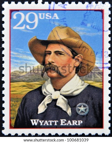 UNITED STATES OF AMERICA - CIRCA 1994: A stamp printed in USA shows Wyatt Berry Stapp Earp, American Old West, circa 1994