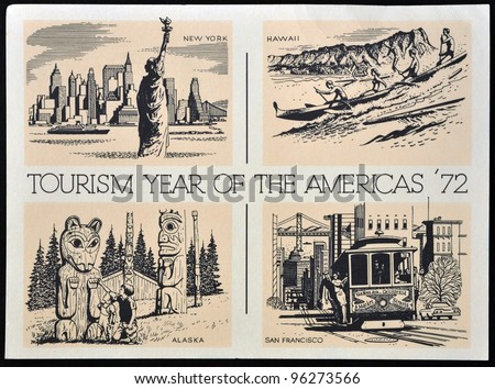 UNITED STATES OF AMERICA - CIRCA 1972: American postal dedicated to tourism year of the Americas, 1972