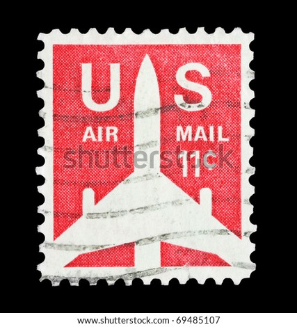 UNITED STATES OF AMERICA - CIRCA 1971: mail stamp printed in USA featuring US Air Mail, circa 1971