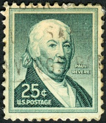 UNITED STATES OF AMERICA - CIRCA 1958: Postage stamp from the USA, depicting a portrait of American Revolution patriot Paul Revere