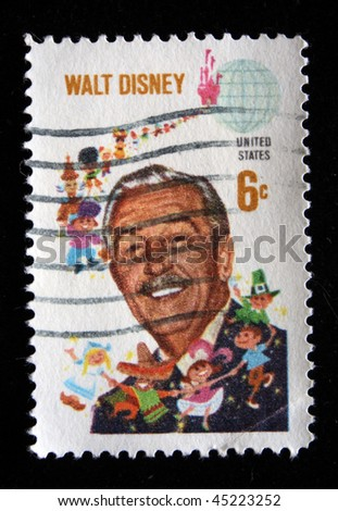 UNITED STATES OF AMERICA - CIRCA 1990s: A stamp printed in the USA shows image of Walt Disney, circa 1990s
