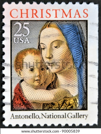 UNITED STATES OF AMERICA - CIRCA 1990-s: A stamp printed in USA shows image of art by Antonello - Virgin and child, circa 1990