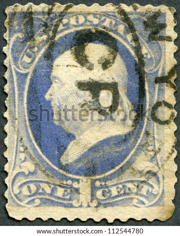 UNITED STATES OF AMERICA - CIRCA 1870's: A stamp printed in USA shows President Benjamin Franklin, circa 1870's