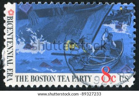 UNITED STATES OF AMERICA-CIRCA 1973: stamp printed by United States of America, shows Boston tea party, circa 1973 - stock photo