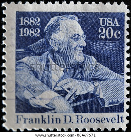 UNITED STATES OF AMERICA - CIRCA 1982: stamp printed by United states, shows Franklin Delano Roosevelt, circa 1982