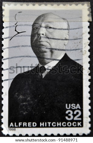 UNITED STATES OF AMERICA - CIRCA 1998 : stamp printed in USA show popular 1960s American writer Alfred Hitchcock, circa 1998