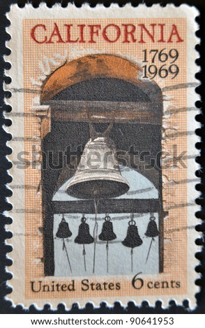 UNITED STATES OF AMERICA - CIRCA 1969: stamp printed in USA, shows Carmel mission belfry, California, circa 1969