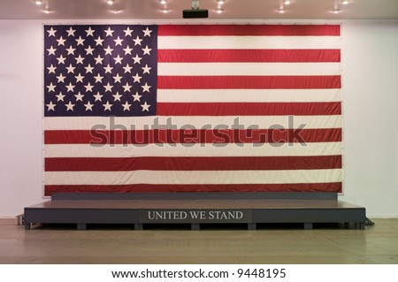 United States of America Flag behind presentation stage