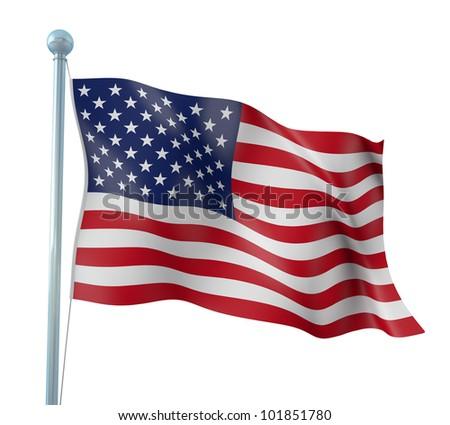 United States of America Flag Detail Render