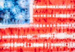 United States of America flag. Tie dyed fabric background