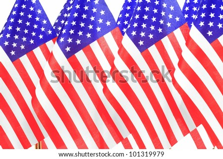 United States of America flags queuee,Isolated on the white background