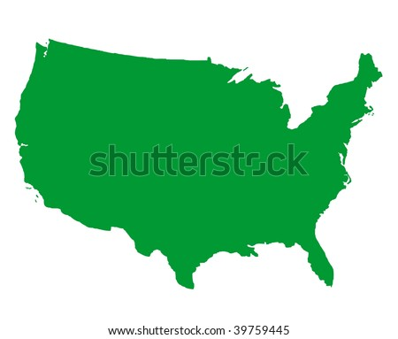 United States of America map isolated on white background.