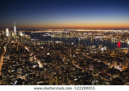 United states of america, new york city, cityscape at night