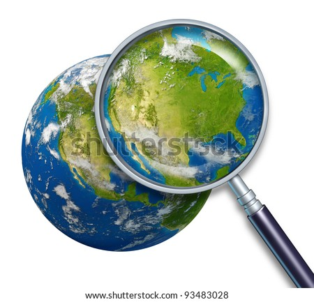 United States of America planet Earth focusing on the country map of USA including places as New York Los Angeles Chicago Texas California with blue ocean and clouds and a magnifying glass on white.