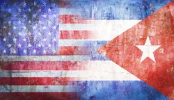 United States of America political relations  Cuba flag grunge vintage retro style