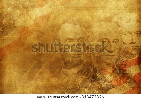 United States of America Presidents Background Illustration. Vintage Style American Background. Independence Backdrop.