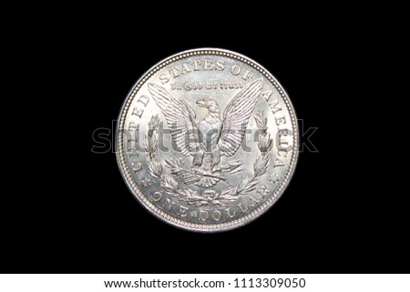 United States of America silver coin One Dollar 1921 on black background