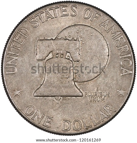 United States of America Silver Eisenhower Dollar Coin Obverse showing the Bicentennial design with the Liberty Bell in front of the moon Isolated