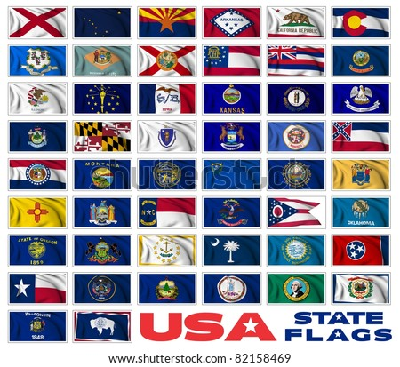 United States of America states flags collection