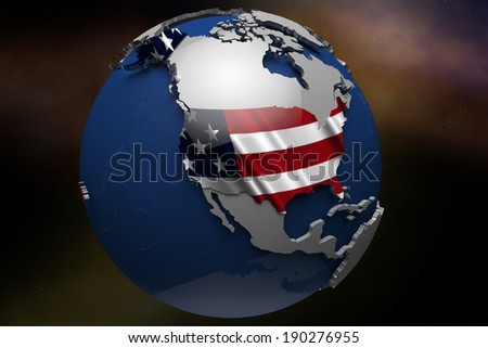 United States of america USA Country Map on Continent 3D Illustration
