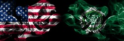 United States of America, USA vs Arab League background abstract concept peace smokes flags.