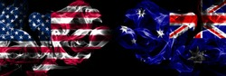 United States of America, USA vs Australia, Australian background abstract concept peace smokes flags.