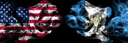 United States of America, USA vs Guatemala, Guatemalan background abstract concept peace smokes flags.