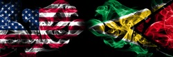 United States of America, USA vs Guyana, Guyanese background abstract concept peace smokes flags.