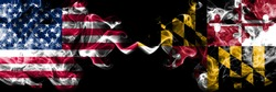 United States of America, USA vs Maryland state background abstract concept peace smokes flags.