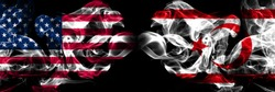 United States of America, USA vs Northern Cyprus background abstract concept peace smokes flags.