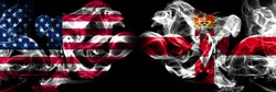 United States of America, USA vs Northern Ireland background abstract concept peace smokes flags.