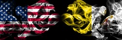 United States of America, USA vs Vatican city background abstract concept peace smokes flags.