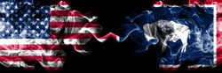 United States of America, USA vs Wyoming state background abstract concept peace smokes flags.