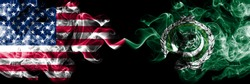 United States of America vs Arab League smoky mystic flags placed side by side. Thick colored silky smoke flags of America and Arab League.