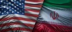 United States of America vs Iran, Iranian  flags placed side by side.   flame flags of America and Iran, Iranian.