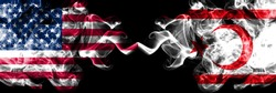 United States of America vs Northern Cyprus smoky mystic flags placed side by side. Thick colored silky smoke flags of America and Northern Cyprus.