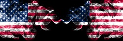 United States of America vs United States of America, American smoky mystic flags placed side by side. Thick colored silky smoke flags of America and United States of America, American.