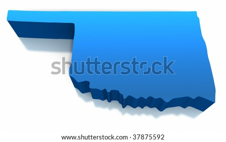 United States Oklahoma Map Outline on a white background. Clipping path included.