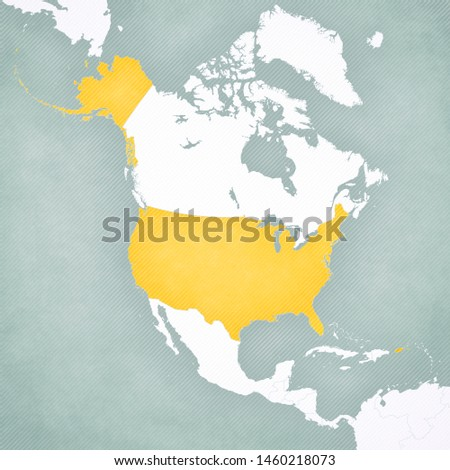 United States on the map of North America with softly striped vintage background.