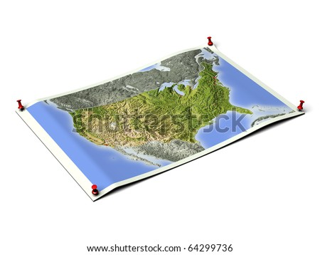 United States on unfolded map sheet with thumbtacks. Map colored according to vegetation, with borders and major urban areas. Includes clip path for the background.