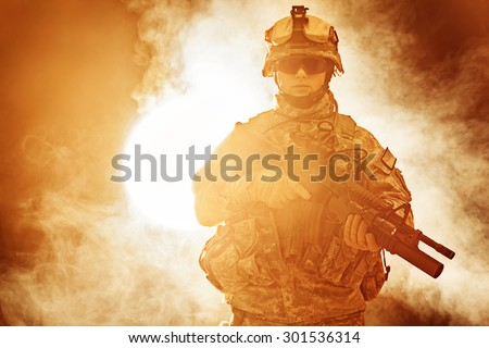 United States paratrooper airborne infantry in the smoke #301536314