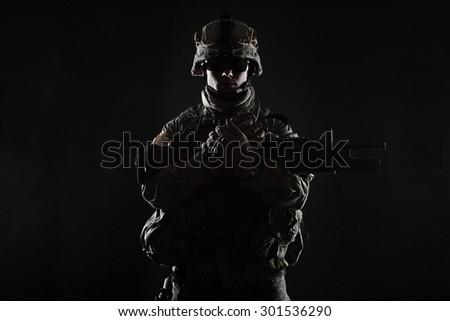 United States paratrooper airborne infantry studio shot on black background