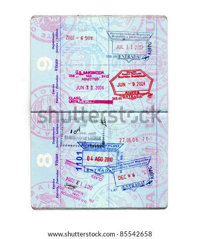 United States Passport Pages with Stamps isolated on white - stock photo