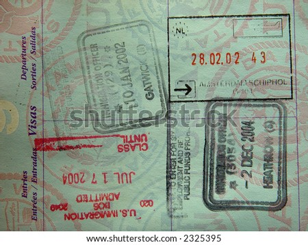 stock photo : United States passport stamps from England, Holland, USA